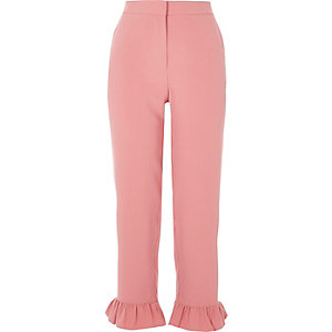 Roze cropped broek met ruches aan de zoom