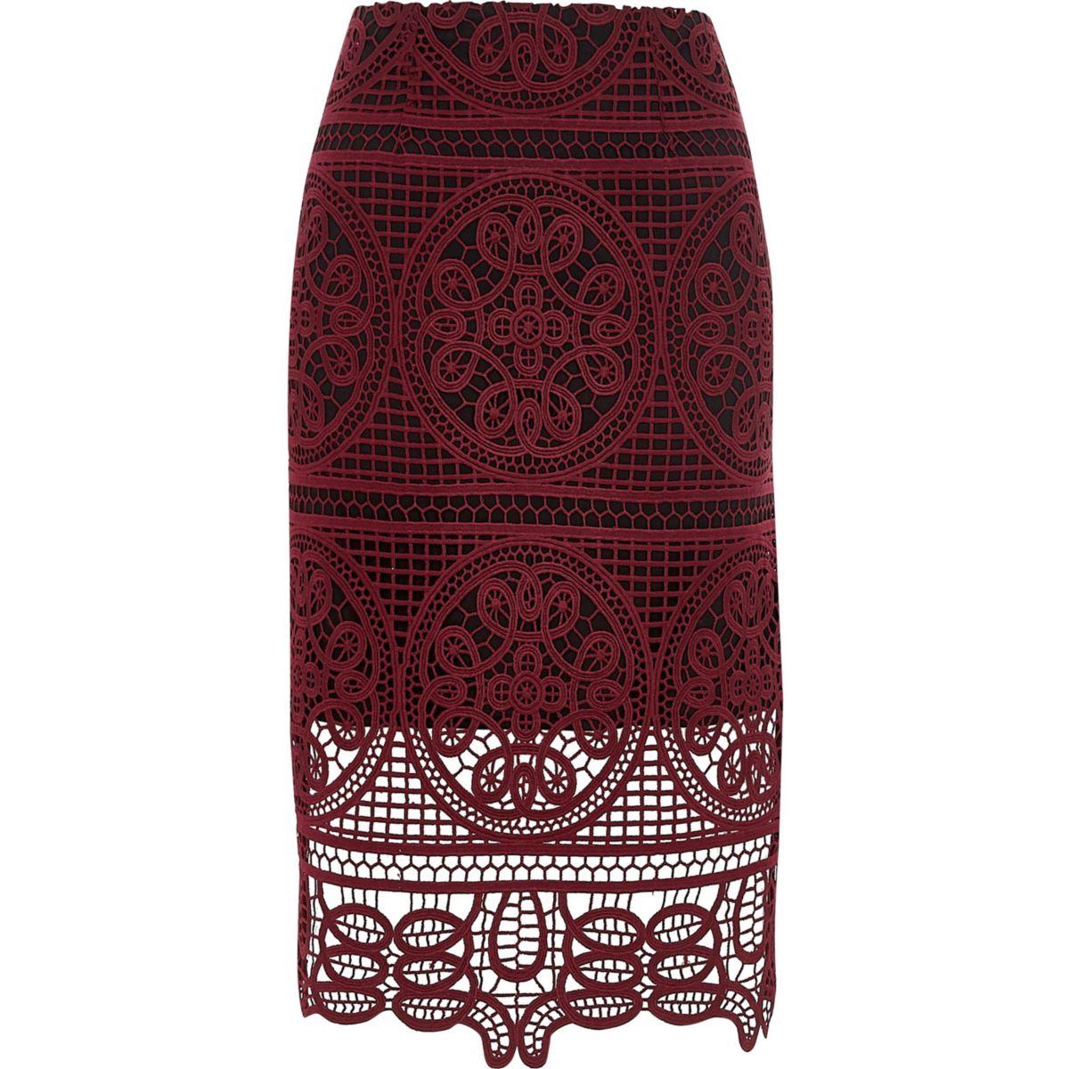 Dark red geo lace pencil skirt