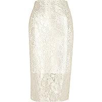 Cream lace foil pencil skirt