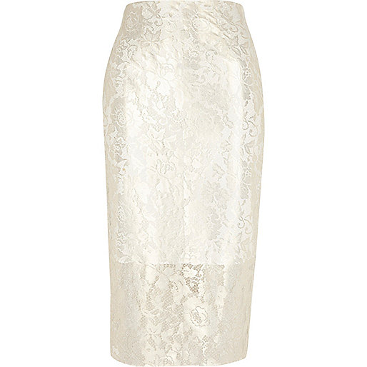 Cream lace foil pencil skirt
