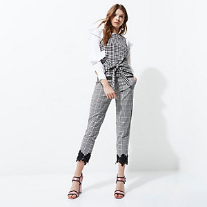 Black gingham crochet hem cropped trousers
