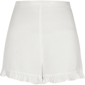 White jacquard frill hem shorts