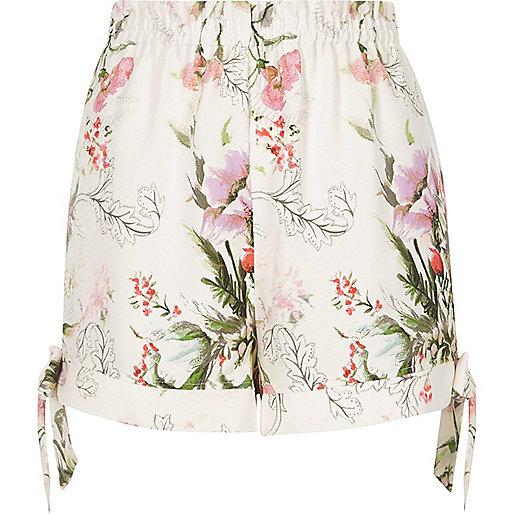 Pink floral print tie hem shorts