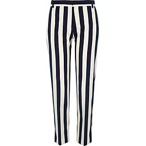 Black stripe cigarette pants