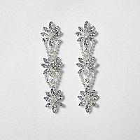 Silver tone floral rhinestone drop earrings
