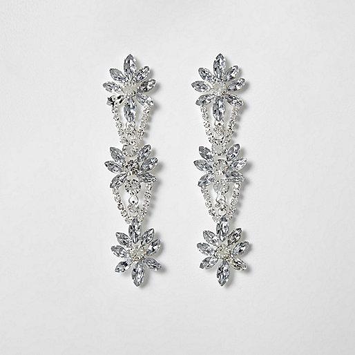 Silver tone floral diamante drop earrings