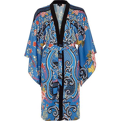 Blue floral baroque print tie waist kimono