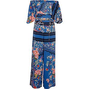 Blue floral baroque print bardot jumpsuit