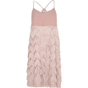 Light pink fringed slip dress
