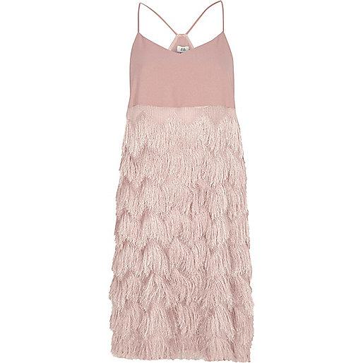 Light pink fringed slip dress
