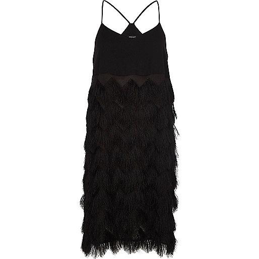 Black fringed slip dress