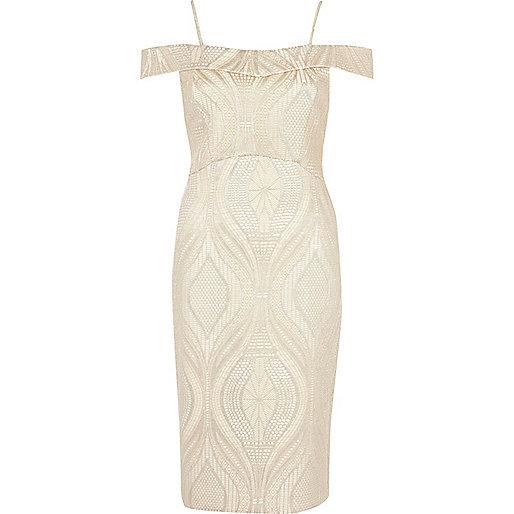 Beige lace bardot bodycon midi dress