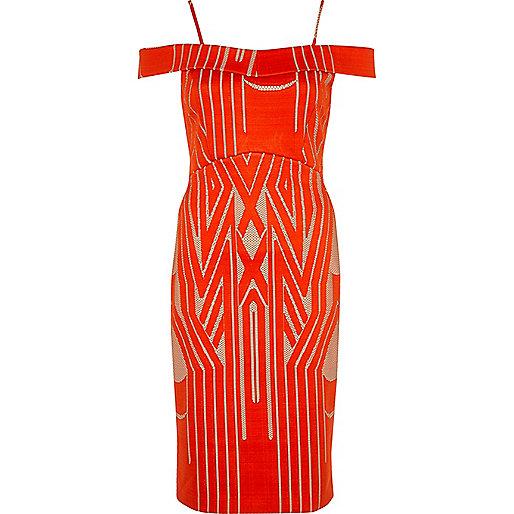 Red lace bardot bodycon midi dress