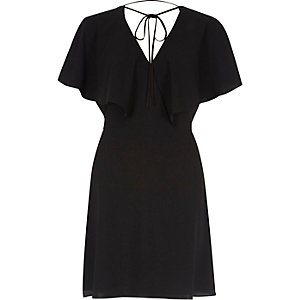 Black cape sleeve tie neck mini dress