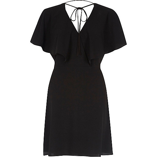 Black cape sleeve tie neck mini dress