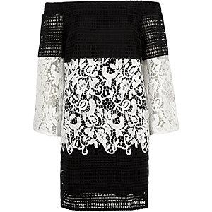 Black mono lace panel bardot swing dress