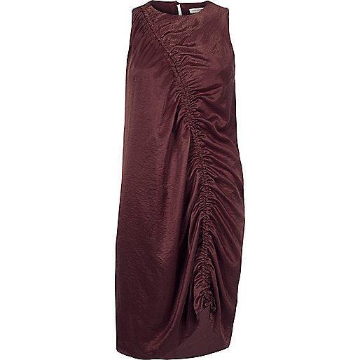 Dark purple ruched front sleeveless dress