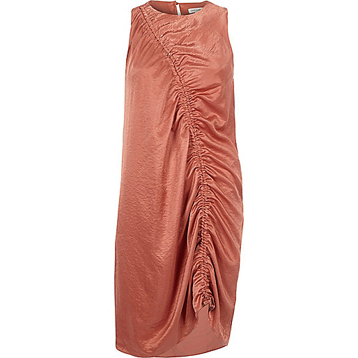 Light pink ruched front sleeveless dress