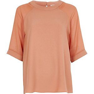 Light brown chiffon sleeve top