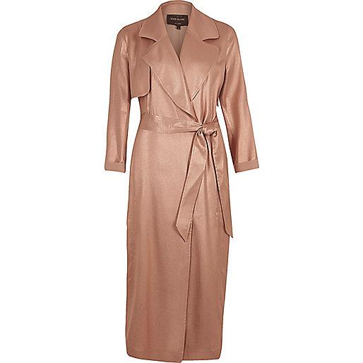 Bronze metallic belted trench coat