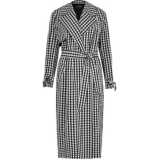 Black gingham check belted trench coat