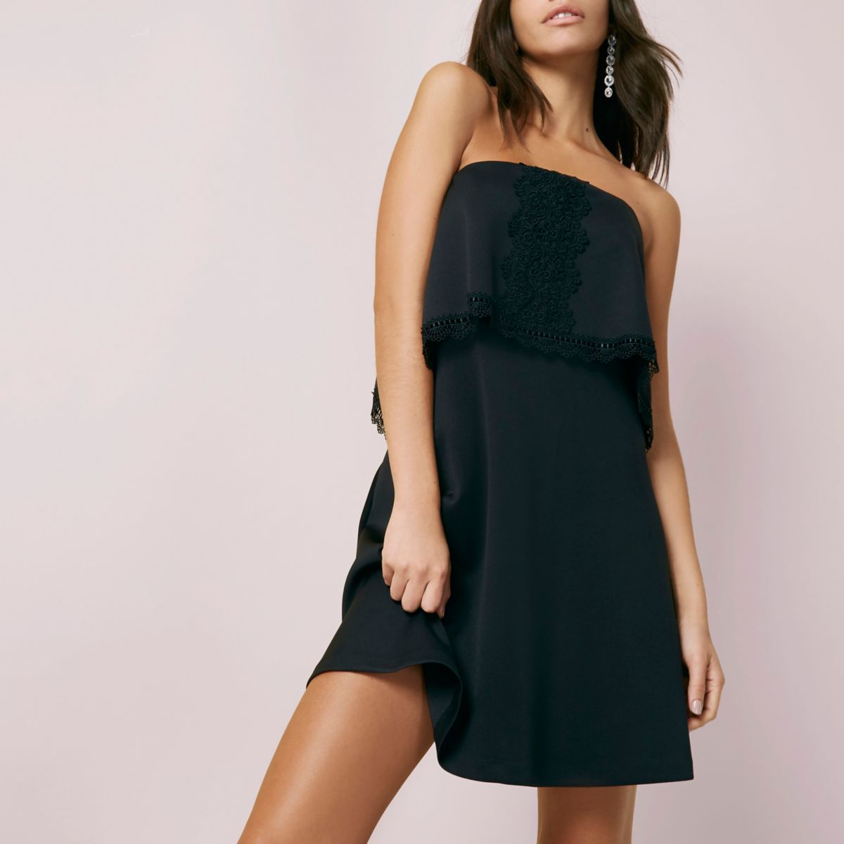 Black bandeau lace trim mini dress