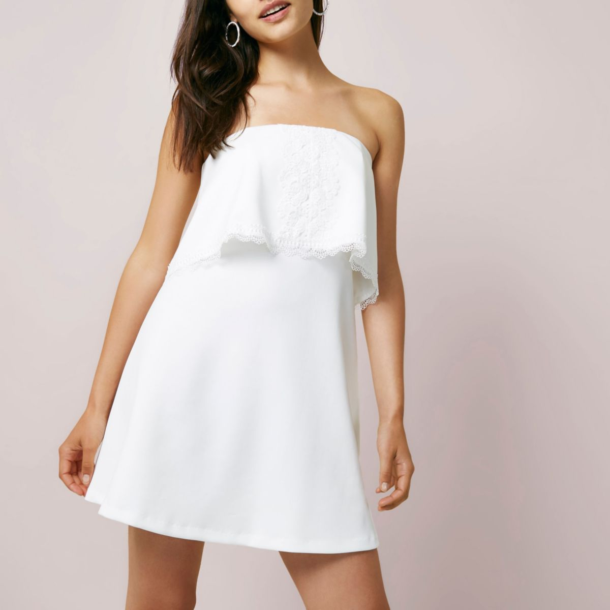 White bandeau lace trim mini dress
