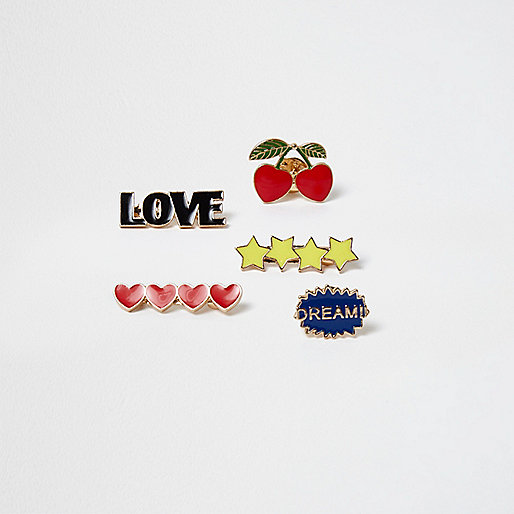 Gold tone love cherry brooch pack