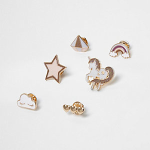Gold tone unicorn brooch pack