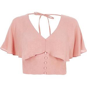 Pink cape tie back crop top