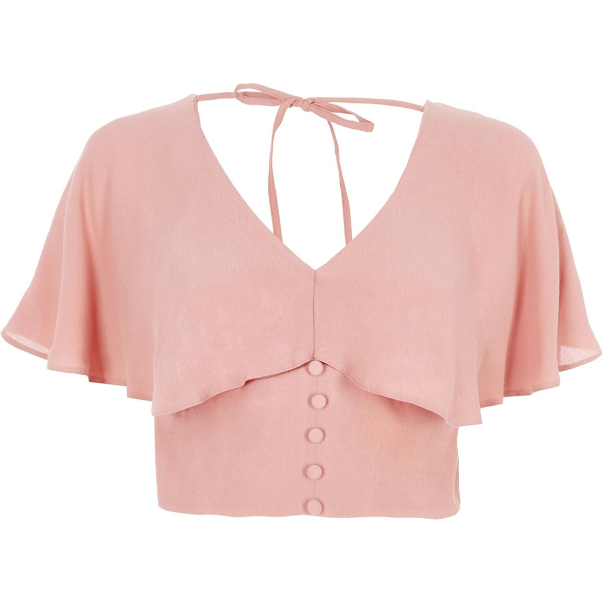Pink cape tie back crop top