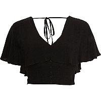 Black cape tie back crop top