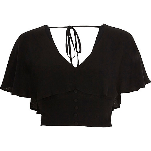 Black cape tie back crop top