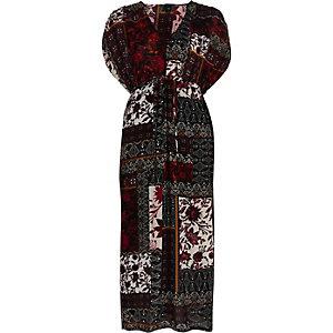 Paarse maxi-jurk met print, ruches en korte mouwen