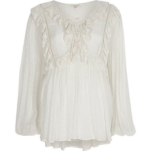 White dobby mesh lace frill top