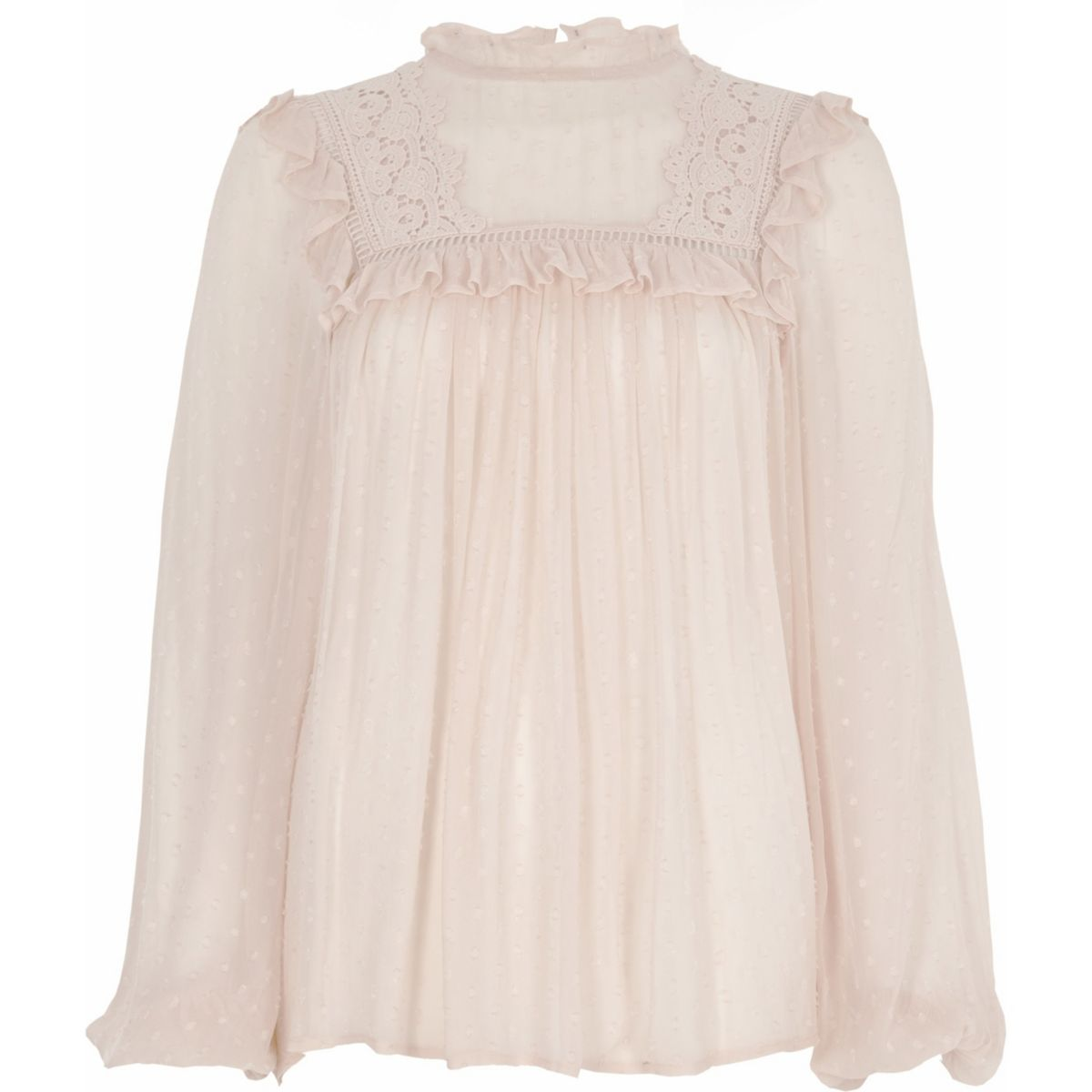 Light pink dobby mesh embroidered top
