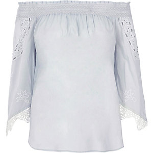Light blue lace sleeve bardot top
