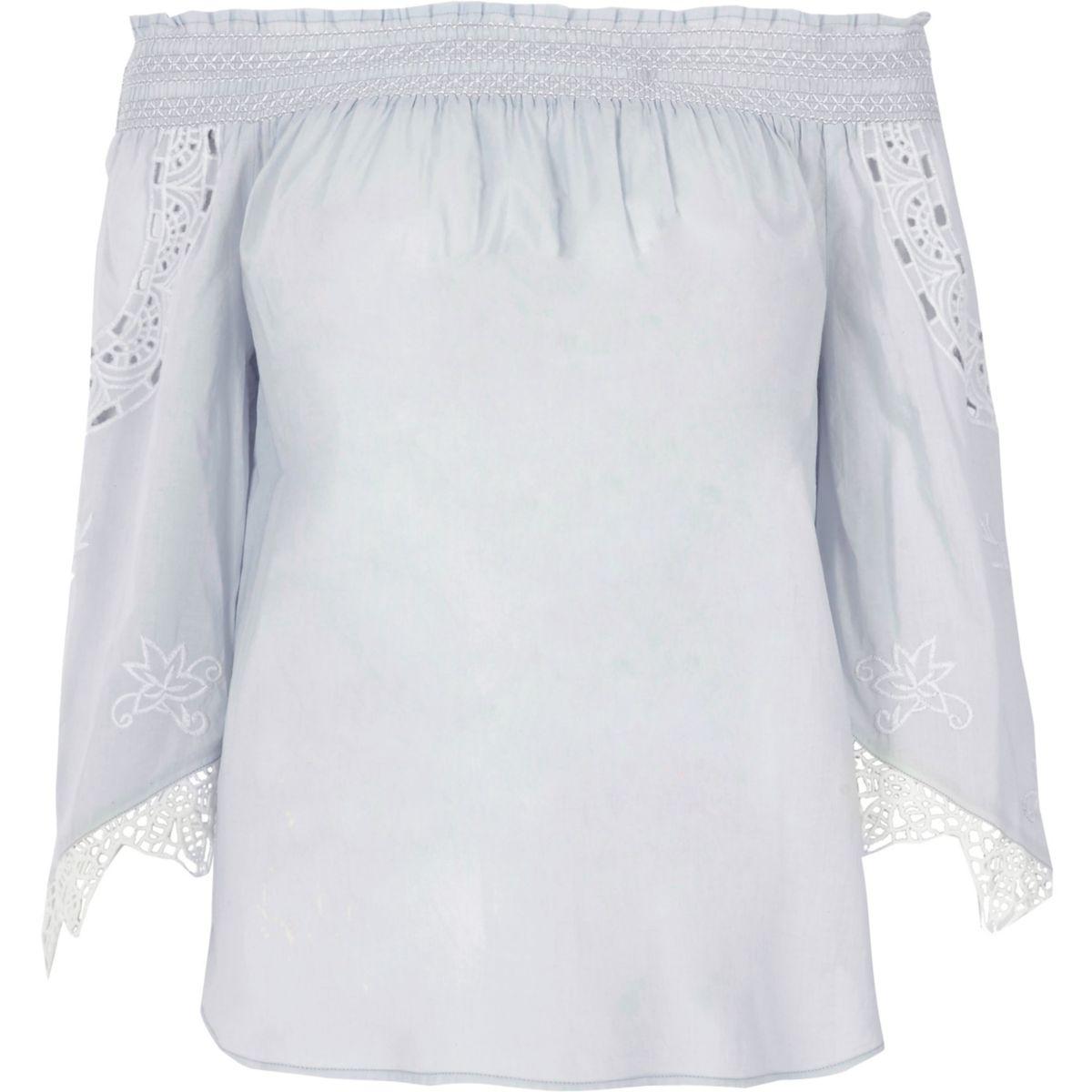 Light blue lace sleeve bardot top