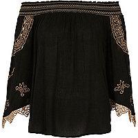 Black embroidered shirred bardot top