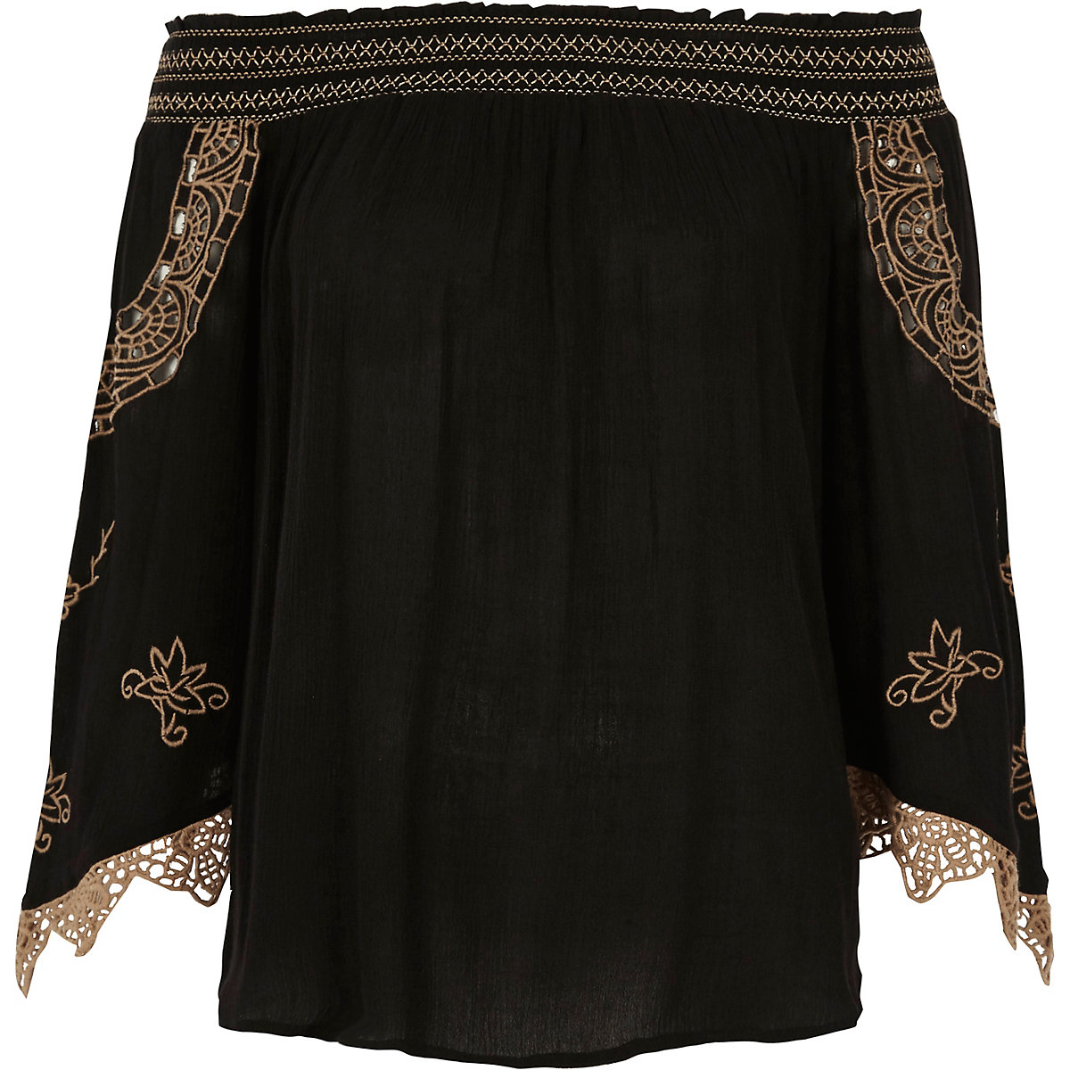 Black embroidered shirred bardot top