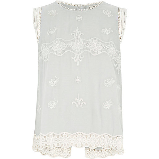 Light blue embroidered top