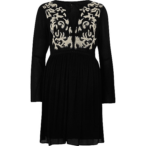 Black embroidered bell sleeve swing dress