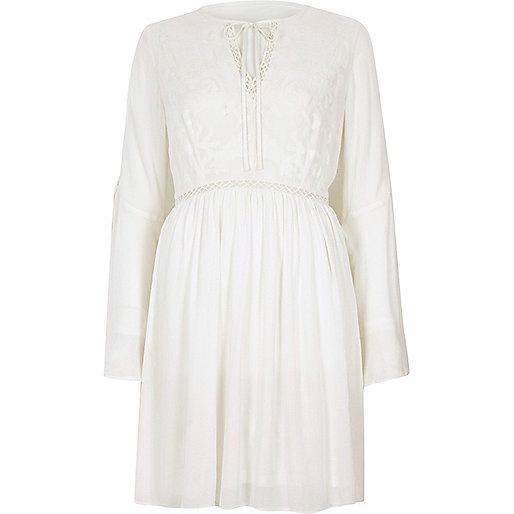 Cream embroidered smock swing dress