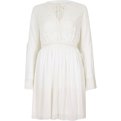Cream embroidered smock swing dress
