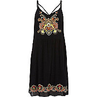Black floral embroidered cami dress