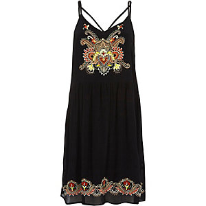 Black floral embroidered cami dress