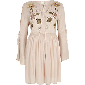 Pink embroidered flared sleeve smock dress