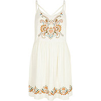 Cream embroidered crepe cami dress