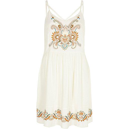 Cream embroidered crepe cami dress