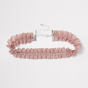 Light pink frill diamante choker